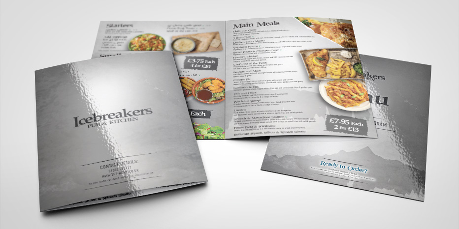 Icebreaker Bar Logo Design Applied to Menus