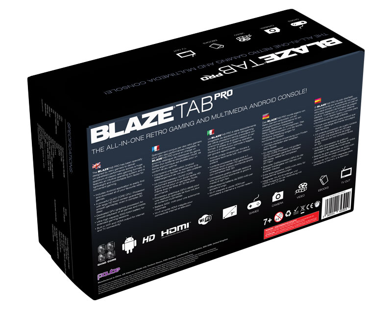 BlazeTab Pro Back Packaging