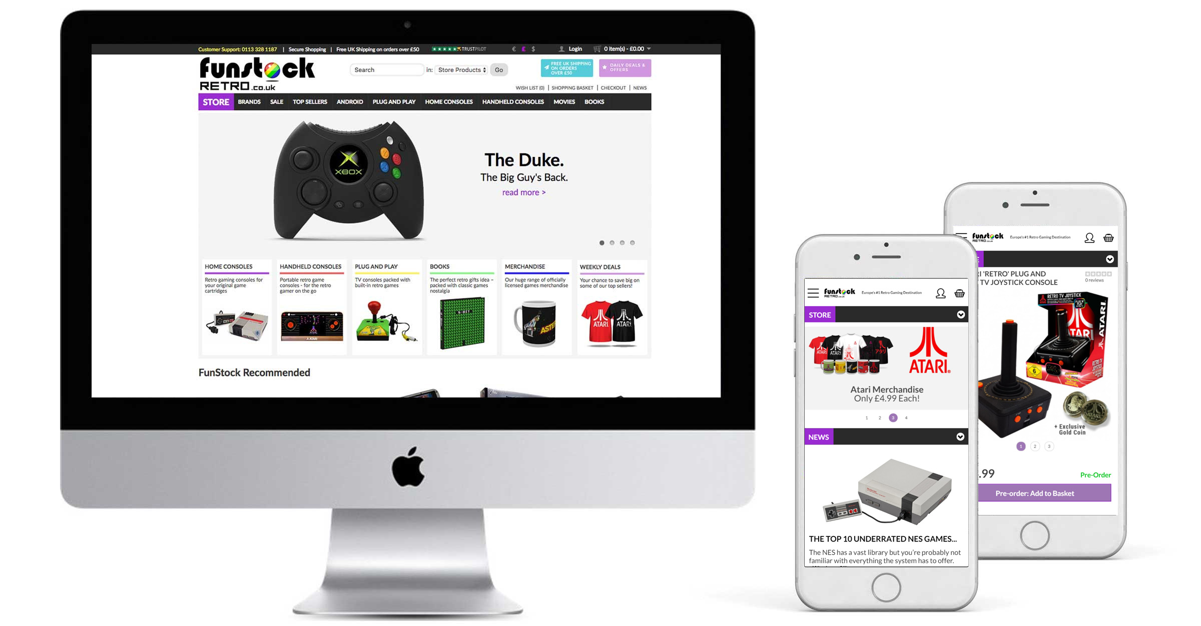 Funstock Retro - Website Design Display Desktop & Mobile